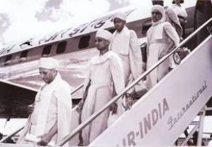 Jeevanpran Swamibapa arrives at Eastleigh Airport on an Air India flight