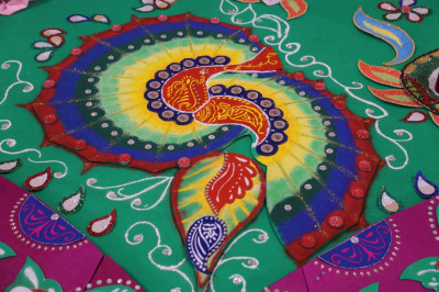 A close up of the wonderfully splendid rangoli patterns all handcrafted by talented disciples