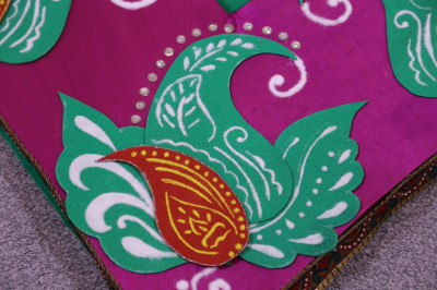 A close up another splendid rangoli pattern each handcrafted by talented disciples