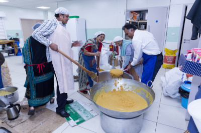Disciples cook preparing all of the annakut and prasad items throughout the weekend and during the evenings leading up to Diwali and new year