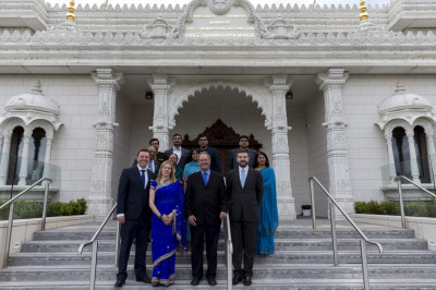 Prossective local Conservative candidates in front of Shree Swaminarayan Mandir Kingsbury