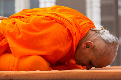 His Divine Holiness Acharya Swamishree performs yoga