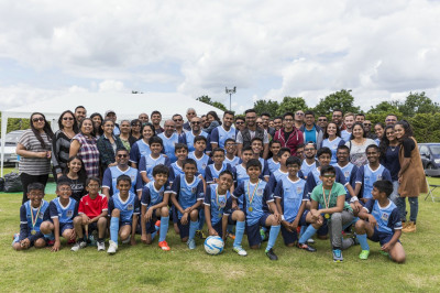 Swamibapa FC in their new team colours and all supporters and volunteers