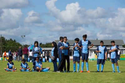 One of the Swamibapa FC teams await their match