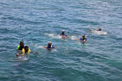 Sants and disciples enjoy swimming and scuba-diving with nature in the ocean