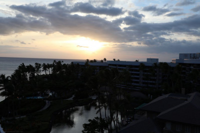 The sun sets on the Hilton Waikoloa Resort