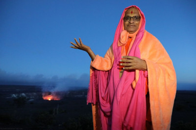 Acharya Swamishree is the first spiritual leader to have visited Kilauea Volcano ' the most active volcano in Hawaii. Kilauea has been continuously erupting since January of 1983