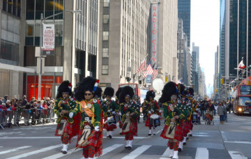 Shree Muktajeevan Swamibapa Pipe Band performs at the Tartan Day Parade in New York City