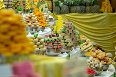 Display of Sweet dishes placed in the annakut