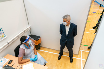 London Mayor Sadiq Khan speaks to many of the clinical professionals including nurses, and the numerous volunteers required to run the centre safely and efficiently