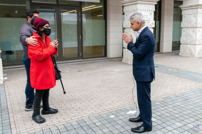 London Mayor Sadiq Khan greets many of the visitors arriving for their life saving vaccine