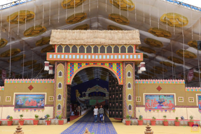 The wonderful recreation of Vrushpur village scene forms the entrance to the grand assembly