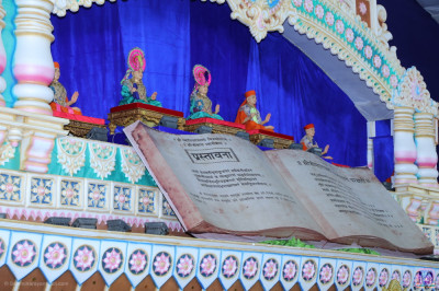 The divine Vachanamrut scripture forms part of the main stage scene