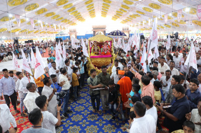 Disciples take part in the pad yatra