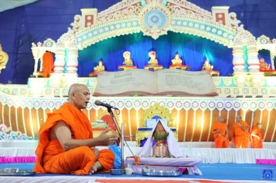 Sants perform the maha poojan ceremony of the divine Vachanamrut scripture, Shree Swaminarayan Gadi Granth scripture, and Shree Abji Bapashree ni vato part 1 and part 2 scriptures