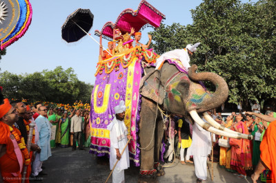 His Divine Holiness Acharya Swamishree Maharaj showers His divine blessings on all seated on the elephant