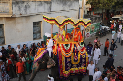 Jeevanpran Shree Abji Bapashree with sants rides on the elephant