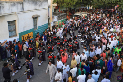 Shree Muktajeevan Swamibapa Pipe Band India and march through the village street performing during the grand procession