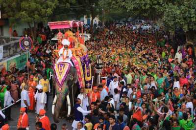 Disciples fill all available space following the elephant during the grand procession