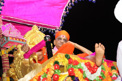 Divine darshan of the divine lotus left foot of His Divine Holiness Acharya Swamishree Maharaj