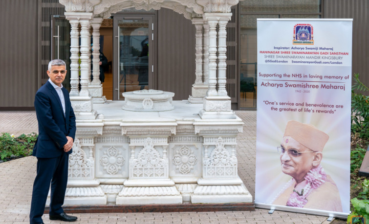 London Mayor Sadiq Khan visits Europe's first vaccine centre at Hindu temple